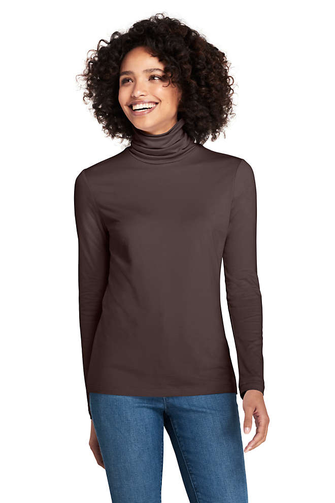 Women's Petite Lightweight Fitted Long Sleeve Turtleneck, Front