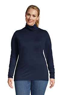 Women's Plus Size Lightweight Fitted Long Sleeve Turtleneck, Front