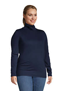 Women's Plus Size Lightweight Fitted Long Sleeve Turtleneck, Unknown