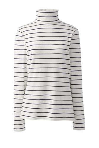 Women's Cotton-modal Stripe Roll Neck