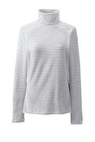 Women's Plus Size Lightweight Fitted Long Sleeve Turtleneck Stripe