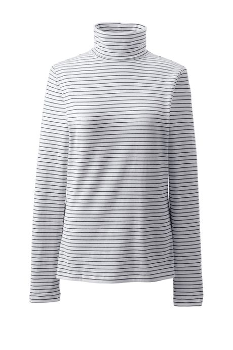 Women's Petite Lightweight Fitted Long Sleeve Turtleneck Stripe