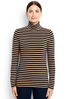 Women's Cotton/Modal Stripe Roll Neck