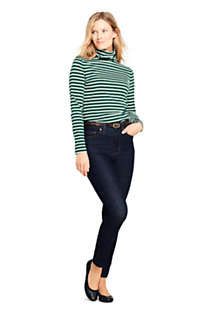 Women's Lightweight Fitted Long Sleeve Turtleneck Stripe, alternative image