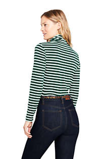 Women's Lightweight Fitted Long Sleeve Turtleneck Stripe, Back