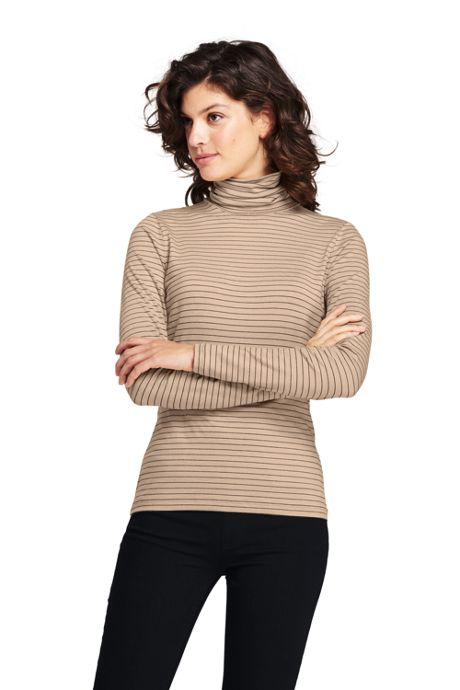 Women's Lightweight Fitted Long Sleeve Turtleneck Stripe