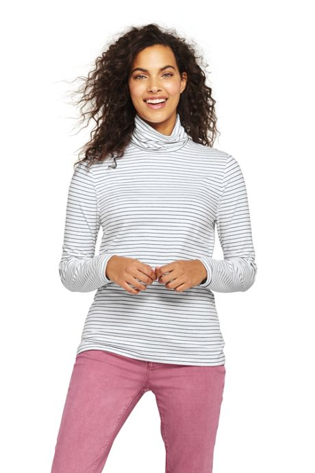 Women's Tall Lightweight Fitted Long Sleeve Turtleneck Stripe