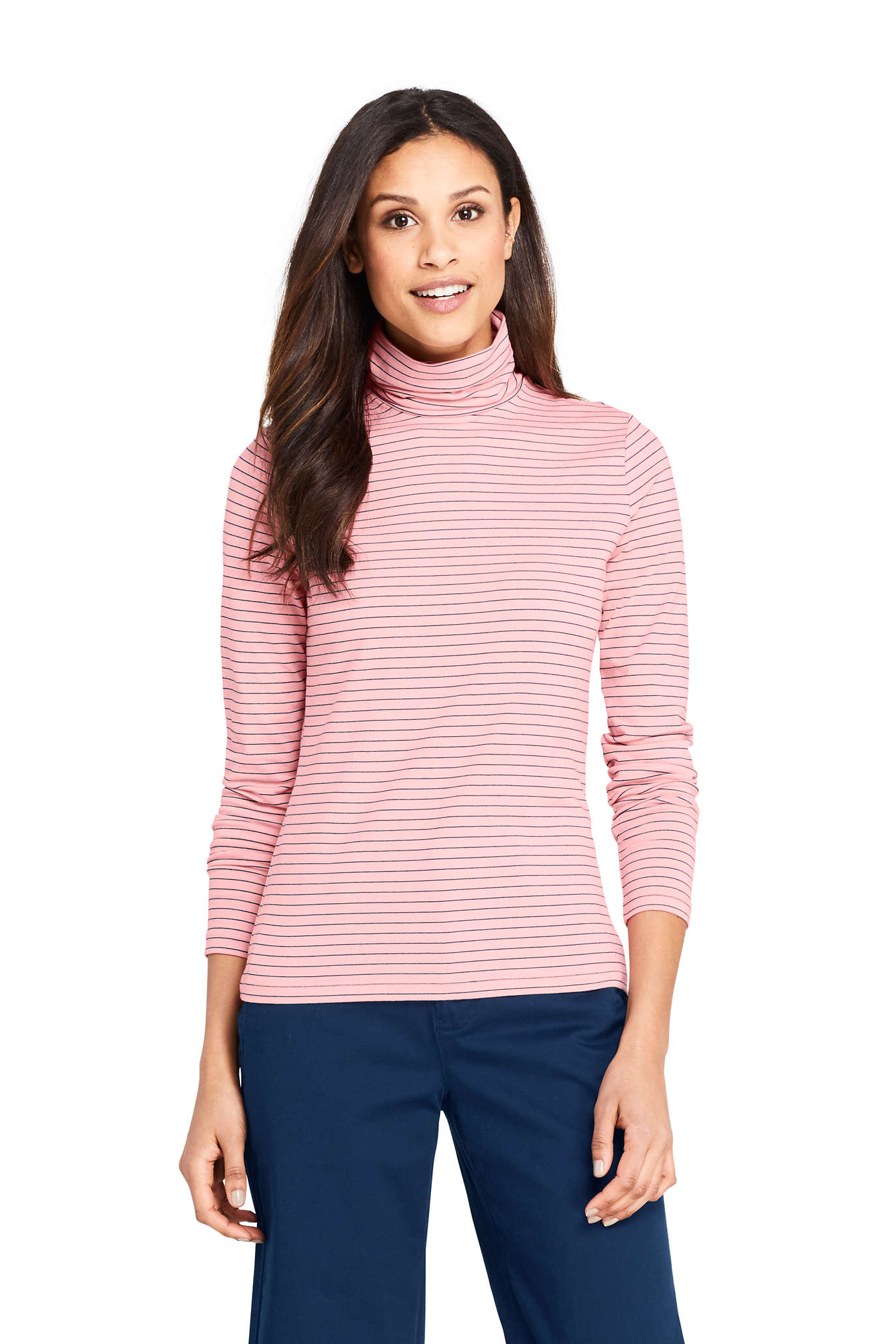 School Uniform Women's Relaxed Cotton Long Sleeve Mock Turtleneck
