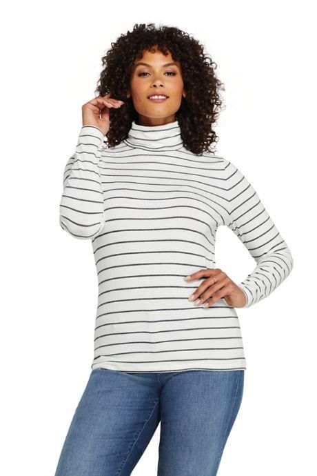 Women's Plus Size Lightweight Fitted Long Sleeve Turtleneck Stripe