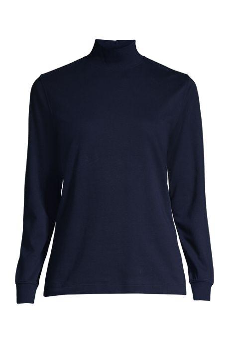 School Uniform Women's Relaxed Cotton Long Sleeve Mock Turtleneck