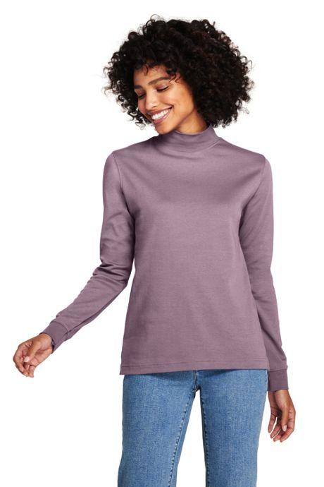 Women's Relaxed Cotton Mock Turtleneck