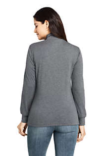 Women's Relaxed Cotton Long Sleeve Mock Turtleneck, Back