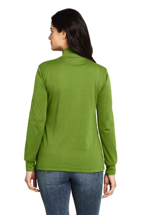 Women's Petite Relaxed Cotton Long Sleeve Mock Turtleneck