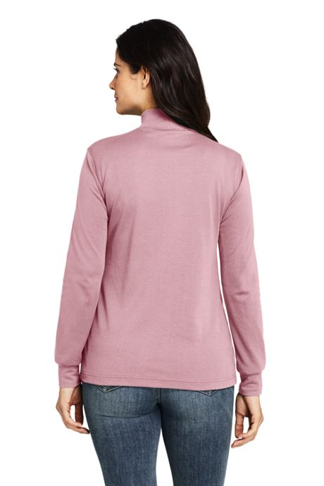 Women's Petite Relaxed Cotton Long Sleeve Mock Turtleneck