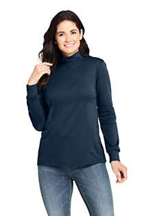 Women's Relaxed Cotton Long Sleeve Mock Turtleneck, Front