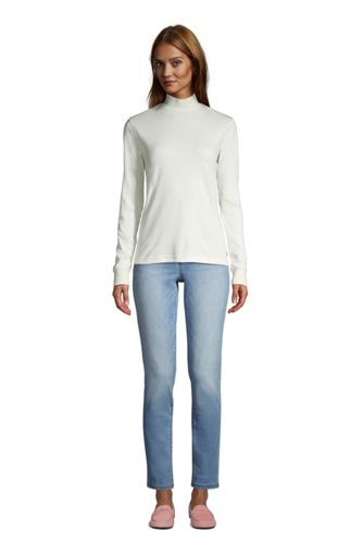 Women's Relaxed Cotton Long Sleeve Mock Turtleneck