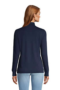 Women's Petite Relaxed Cotton Long Sleeve Mock Turtleneck, Back