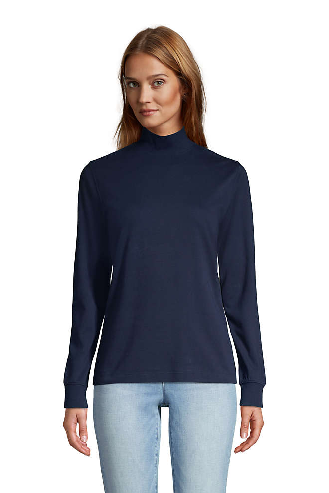 Women's Petite Relaxed Cotton Long Sleeve Mock Turtleneck, Front