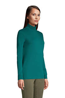 Women's Relaxed Cotton Long Sleeve Mock Turtleneck, alternative image