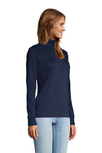 Women's Petite Relaxed Cotton Long Sleeve Mock Turtleneck, alternative image