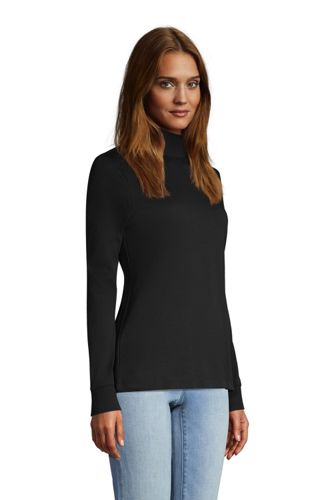 Women's Tall Relaxed Cotton Long Sleeve Mock Turtleneck