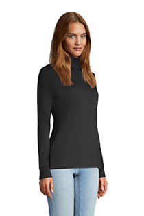 Women's Tall Relaxed Cotton Long Sleeve Mock Turtleneck, alternative image