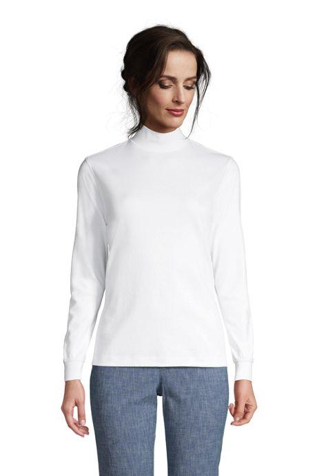 Women's Relaxed Cotton Long Sleeve Mock Turtleneck