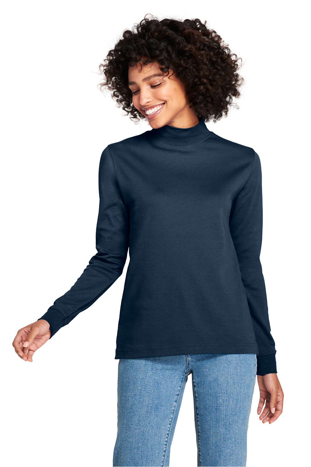 b6d38542c9 Women's Relaxed Cotton Mock Turtleneck from Lands' End