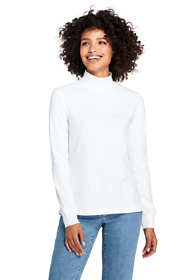 Women's Petite Relaxed Cotton Mock Turtleneck