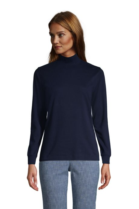 Women's Cotton Mock Turtleneck