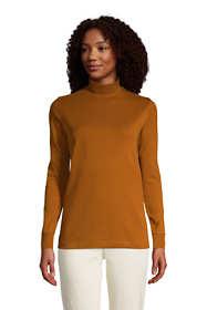 Women's Tall Relaxed Cotton Long Sleeve Mock Turtleneck