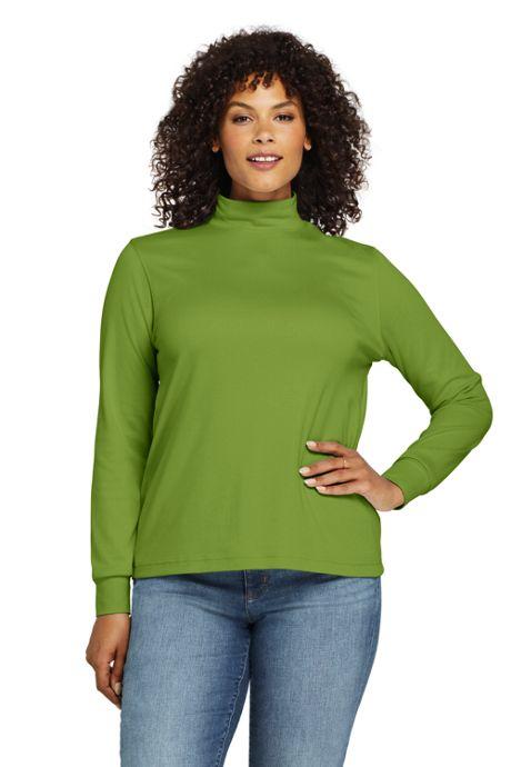 Women's Plus Size Relaxed Cotton Long Sleeve Mock Turtleneck