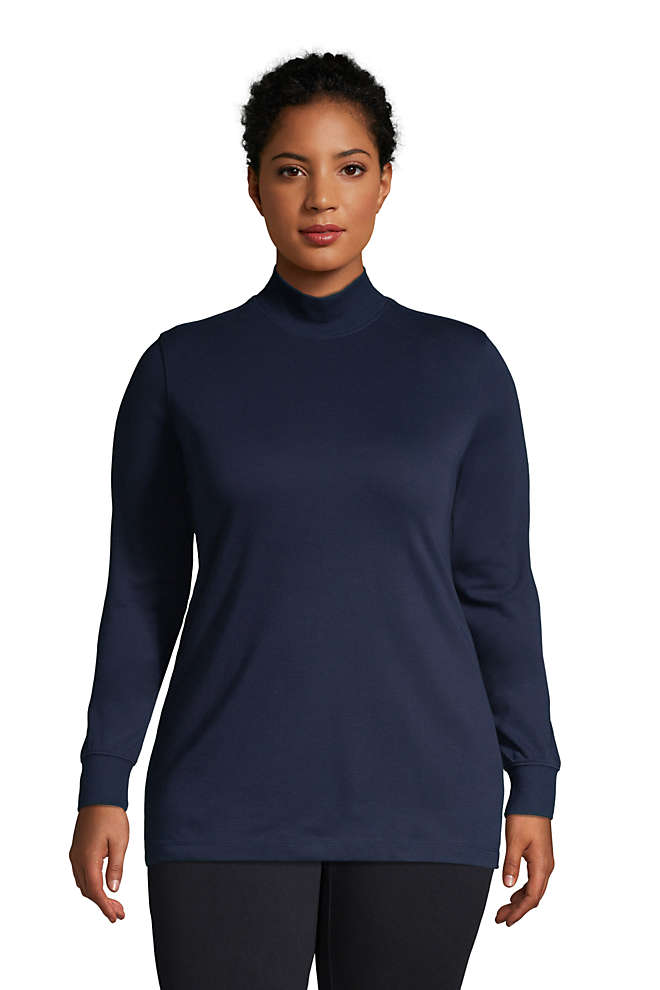 Women's Plus Size Relaxed Cotton Long Sleeve Mock Turtleneck, Front