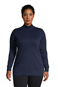 Lands End Womens Relaxed Cotton Long Sleeve Mock Turtleneck