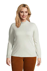Women's Plus Size Relaxed Cotton Long Sleeve Mock Turtleneck