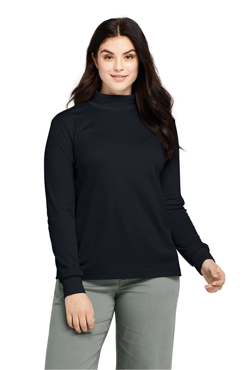f5bb9ad171f Women s Plus Size Relaxed Cotton Mock Turtleneck from Lands  End