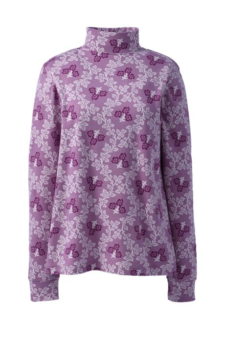 Women's Tall Relaxed Cotton Long Sleeve Mock Turtleneck Print