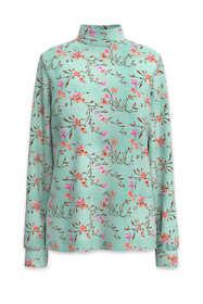 Women's Relaxed Cotton Long Sleeve Mock Turtleneck Print