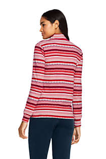 Women's Relaxed Cotton Long Sleeve Mock Turtleneck Print, Back