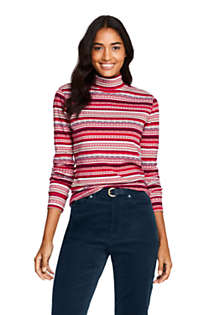 Women's Relaxed Cotton Long Sleeve Mock Turtleneck Print, Front