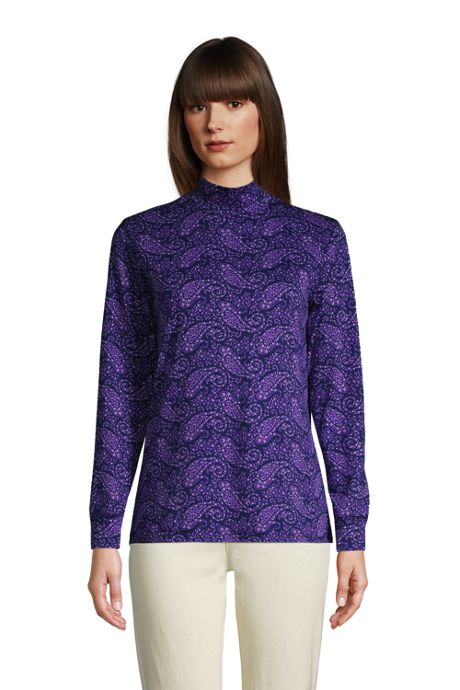 Women's Relaxed Cotton Long Sleeve Mock Turtleneck Print