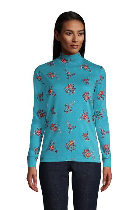 Women's Petite Relaxed Cotton Long Sleeve Mock Turtleneck Print