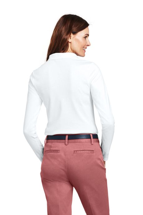 Women's Tall Long Sleeve Pima Cotton Polo Shirt