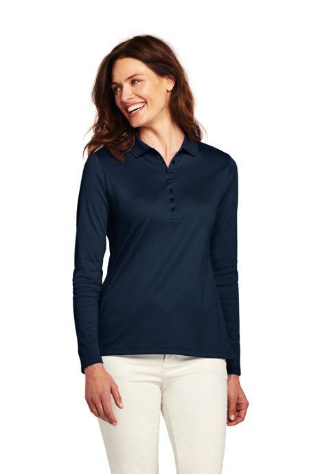 Women's Tall Long Sleeve Pima Cotton Polo Shirt