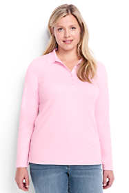 Women's Plus Size Long Sleeve Pima Cotton Polo Shirt