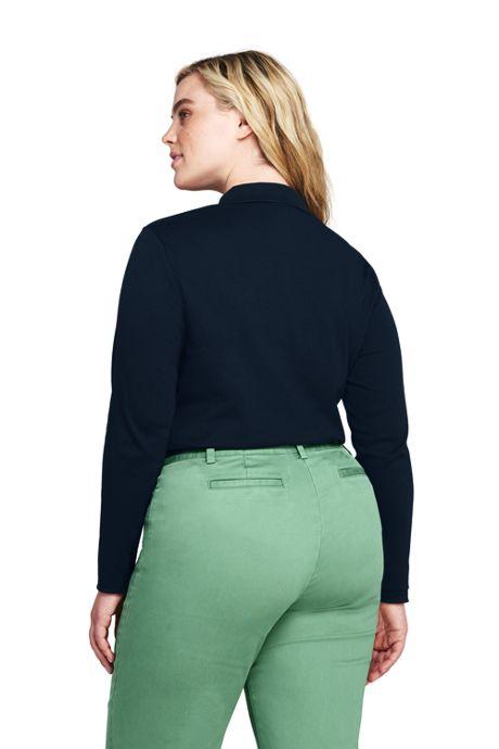 Women's Plus Size Long Sleeve Pima Cotton Polo Shirt