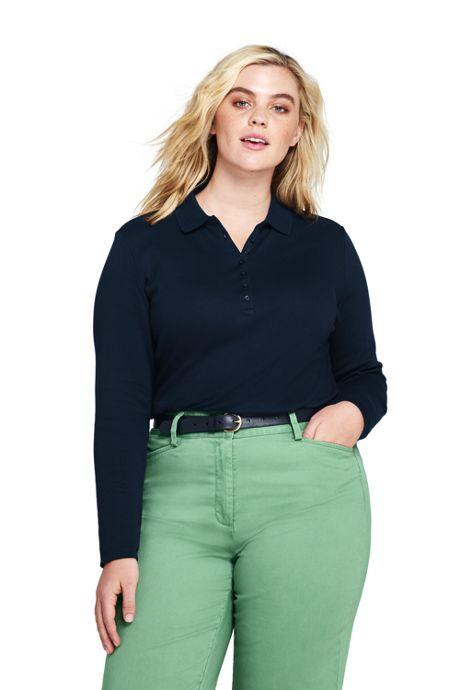 Womens Plus Size Long Sleeve Pima Cotton Polo Shirt Polo Shirts