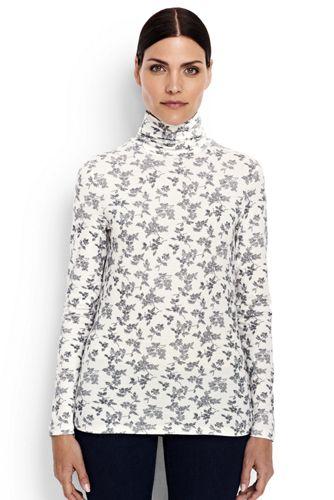 Women's Regular Cotton/Modal Print Roll Neck
