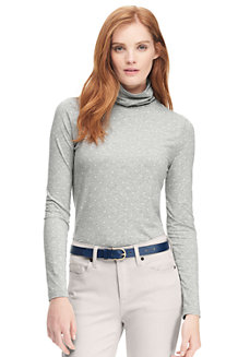 Women's Cotton/Modal Print Roll Neck