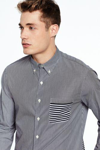 Men's Contrast Stripe Formal Shirt